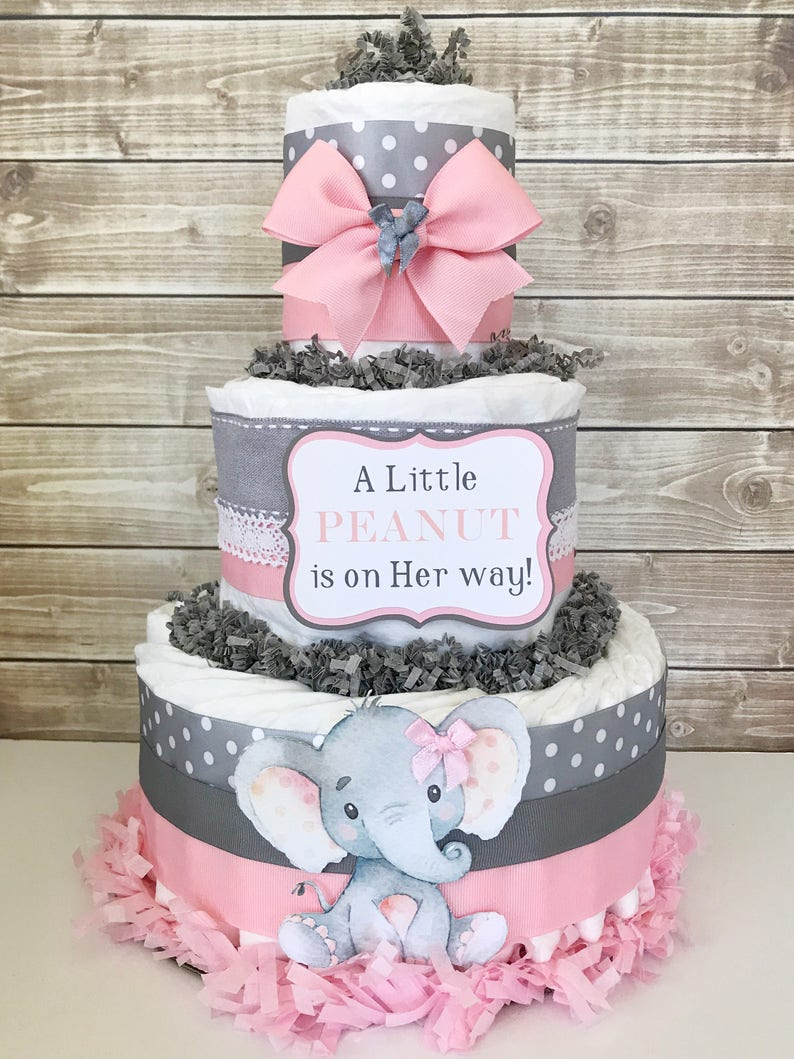 A Little Peanut Is On Her Way Diaper Cake Elephant Baby Etsy