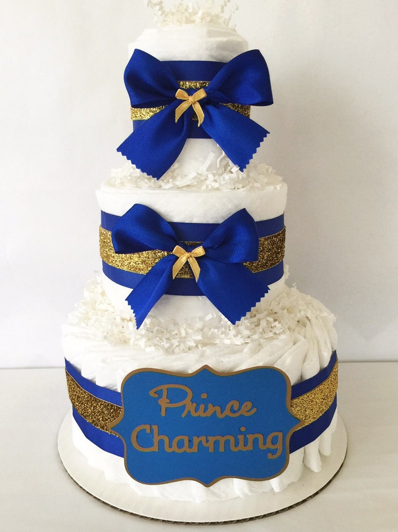Prince Charming Diaper Cake In Royal Blue And Gold Prince Etsy