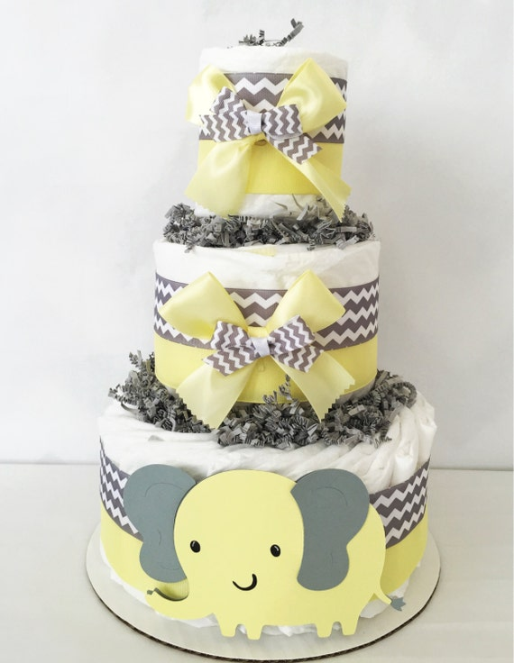 3 Tier Elephant Diaper Cake Yellow and Gray Baby Shower | Etsy
