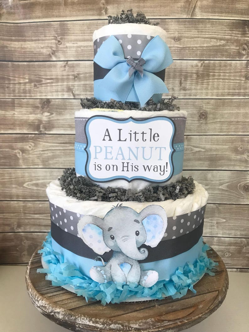 Little Peanut Diaper Cake In Blue And Gray Elephant Baby Etsy