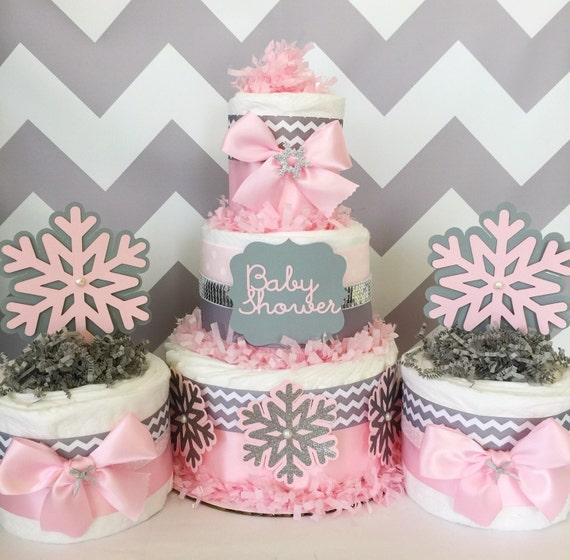 Chevron Winter Wonderland Diaper Cakes Winter Wonderland Baby Etsy