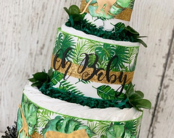 Oh Baby Tropical Safari Diaper Cake, Safari Baby Shower Centerpiece-Virtual Baby Shower