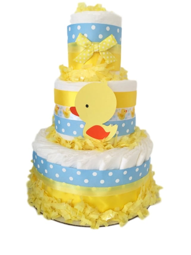 Rubber Ducker Diaper Cake In Yellow Blue And White Duck Theme Baby