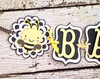 Bumble Bee Baby Shower Banner, Neutral Baby Bee Banner, Yellow and Grey Banner