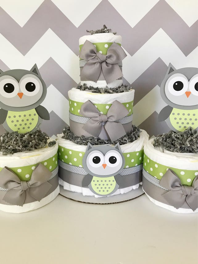 Set Of 3 Owl Diaper Cakes In Sage Green And Gray Owl Baby Shower