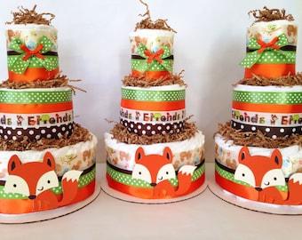 Forest Friends Woodland Diaper Cake, Fox Theme Baby Shower Centerpiece