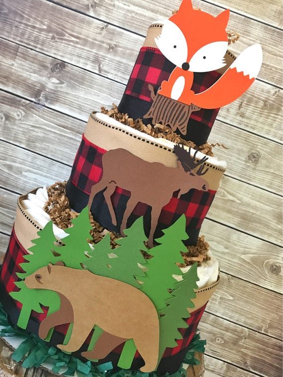 Buffalo Plaid Woodland Animals Baby Shower Diaper Cake Boy Etsy