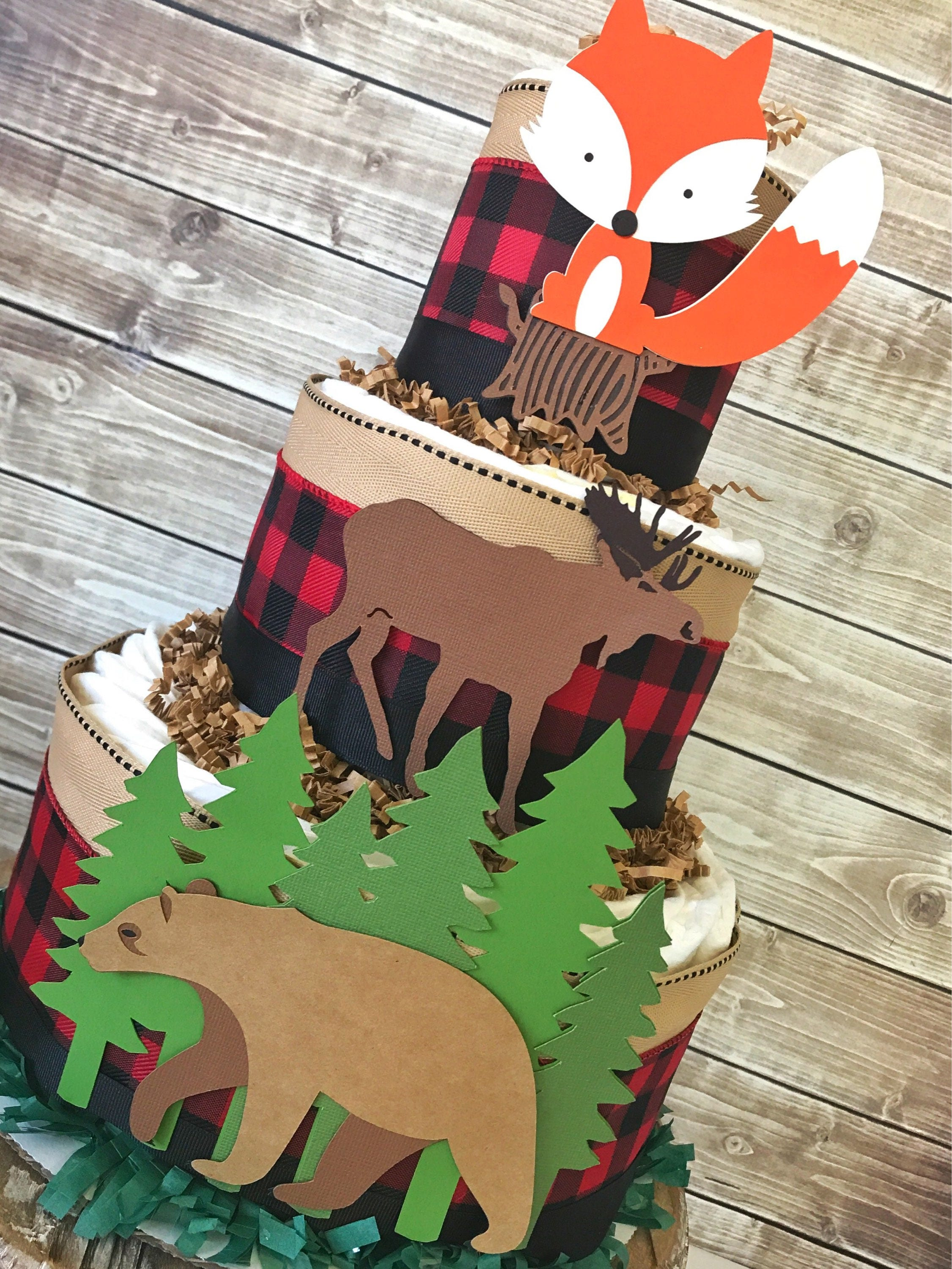 Buffalo Plaid Woodland Animals Baby Shower Diaper Cake Boy Woodland