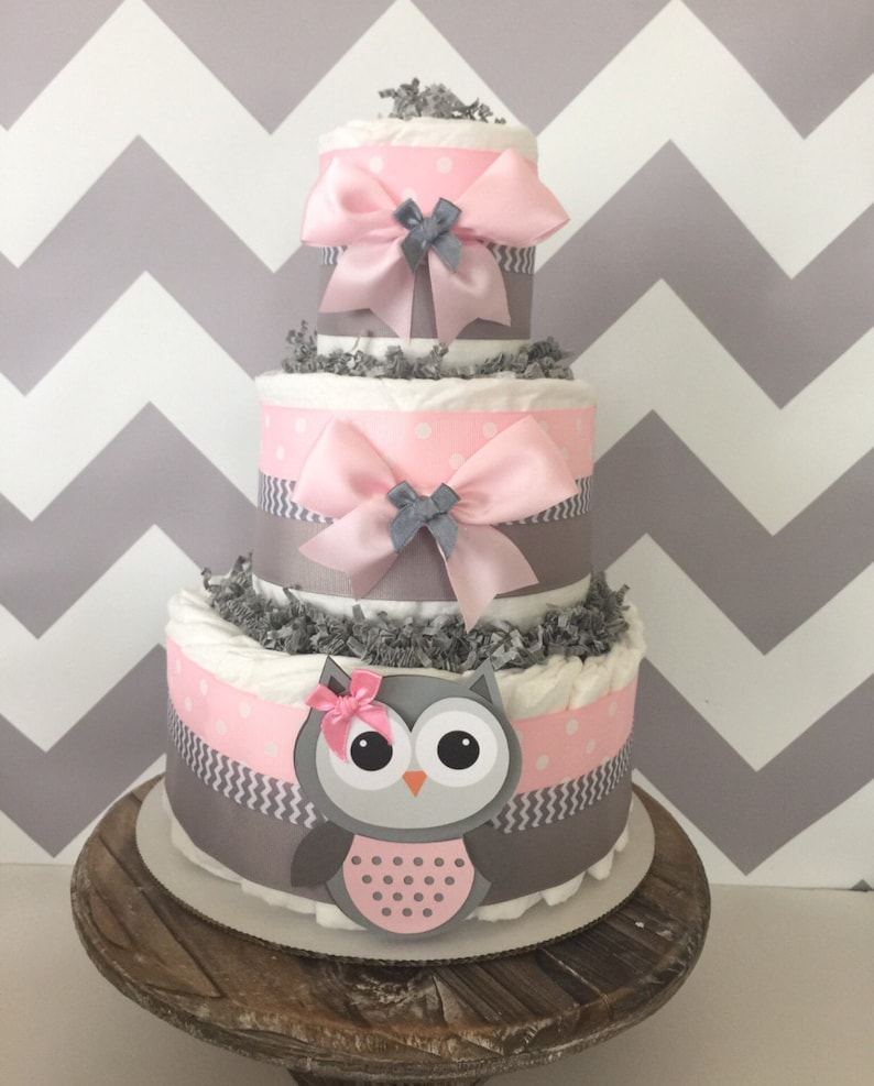 Pleasing Owl Diaper Cake In Pink And Gray Owl Baby Shower Centerpiece For Girls Download Free Architecture Designs Scobabritishbridgeorg