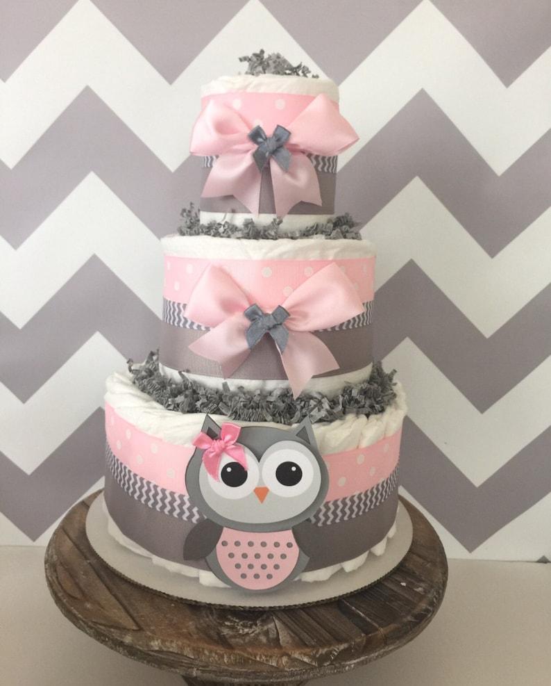 Remarkable Owl Diaper Cake In Pink And Gray Owl Baby Shower Centerpiece For Girls Interior Design Ideas Skatsoteloinfo