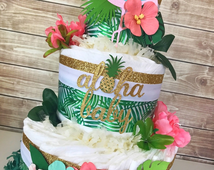 Featured listing image: Aloha Baby Shower Centerpiece, Hawaiian Diaper Cake, Tropical Baby Shower Ideas
