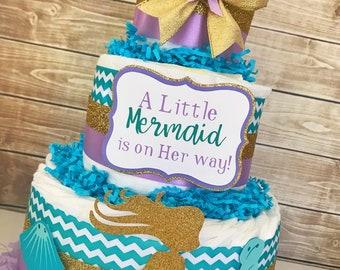 Mermaid Baby Shower Diaper Cake, A Little Mermaid is on Her way Centerpiece, Mermaid Baby Shower Decorations