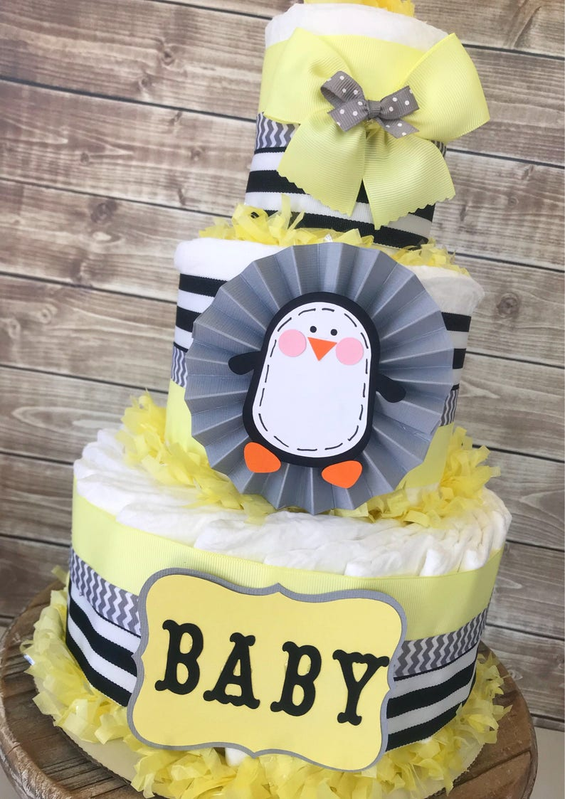 Penguin Baby Shower Diaper Cake In Pale Yellow Grey And Etsy