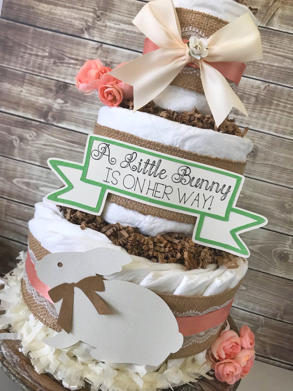 Spring Baby Shower Centerpiece Bunny Baby Shower Diaper Cake