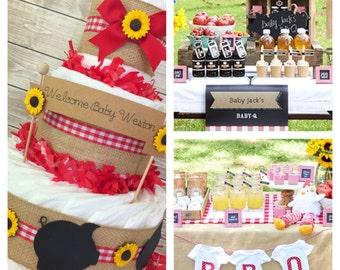 BBQ Baby Shower Centerpiece, Farm Baby Shower Decoration, Gingham Diaper Cakes, Baby Q