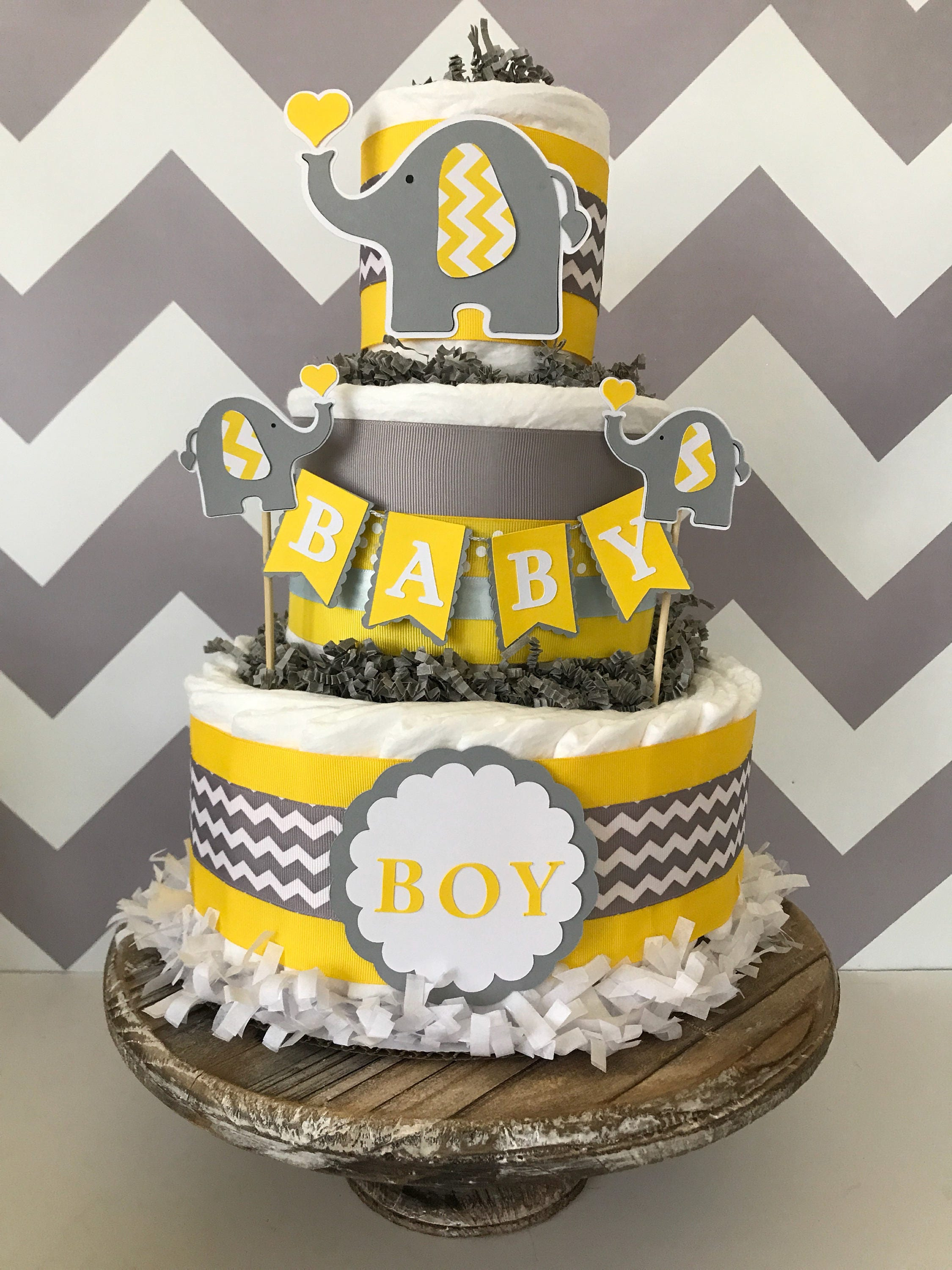 Elephant Diaper Cake In Yellow Gray And White Elephant Baby Etsy