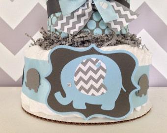 Chevron Elephant Diaper Cake, Blue and Gray Baby Shower Centerpiece