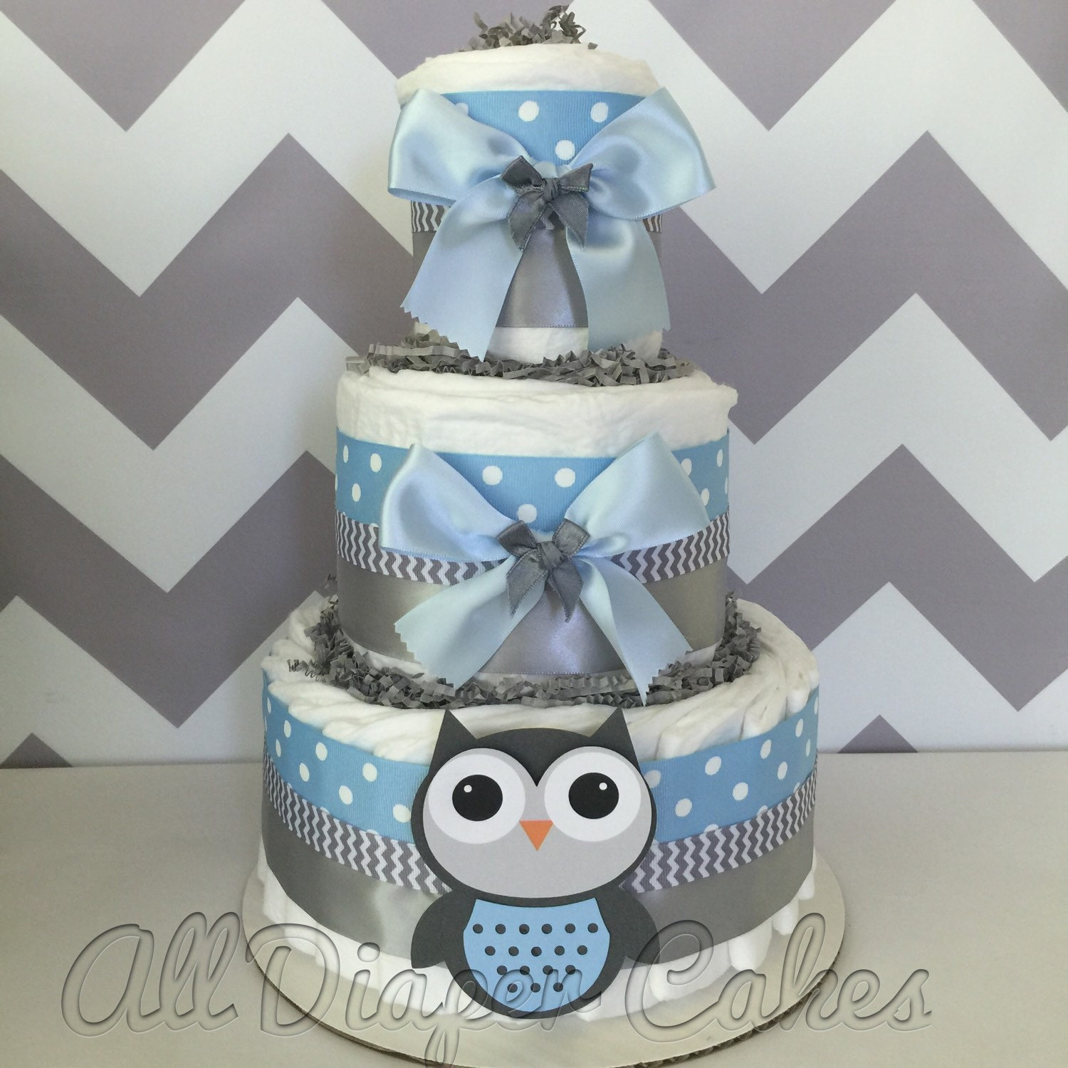 Deluxe Owl Diaper Cake In Blue And Gray Owl Baby Shower Etsy