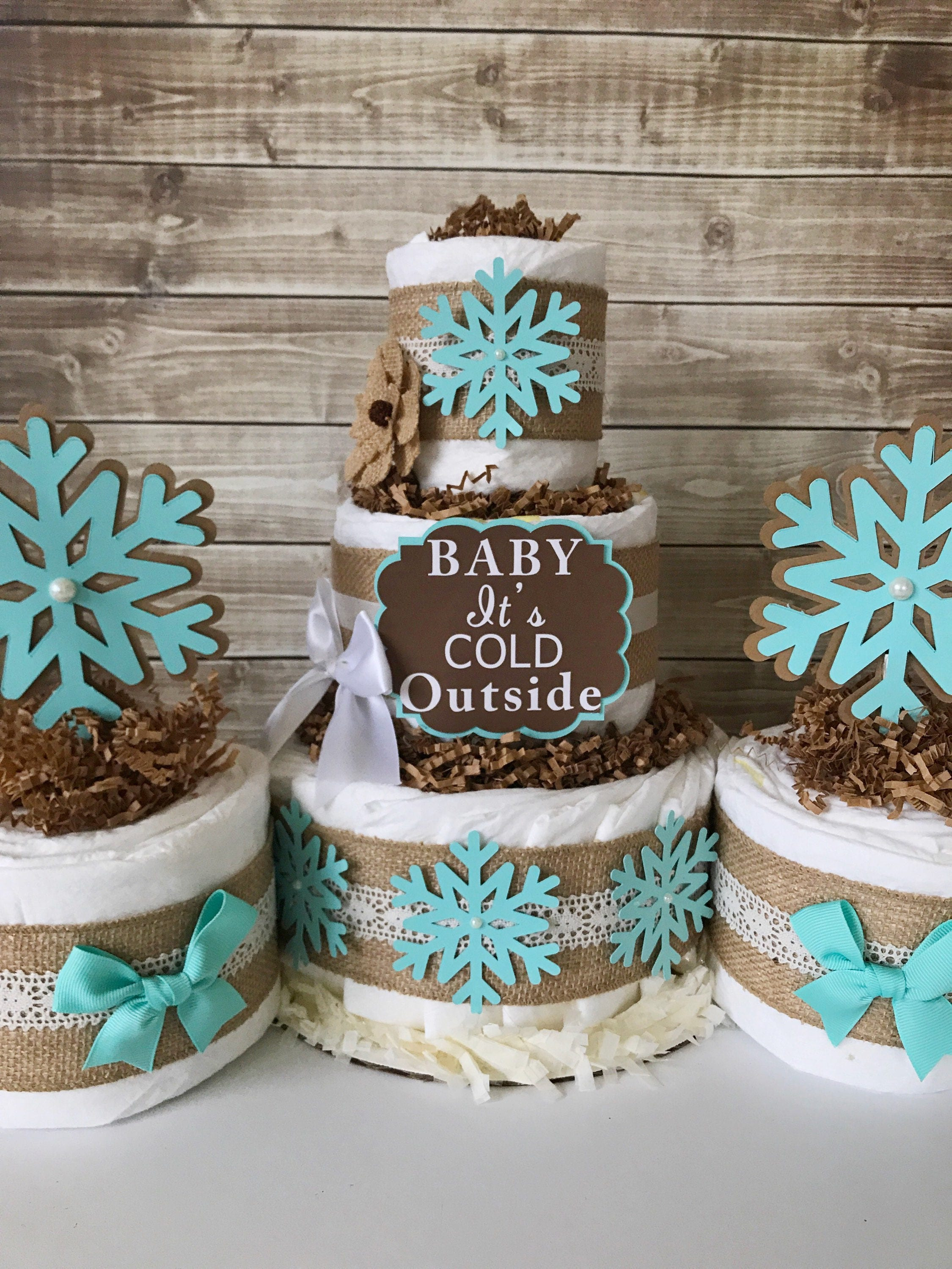 Rustic Winter Diaper Cake In Tiffany Blue Burlap And Lace Baby Its Cold Outside Shower Centerpiece