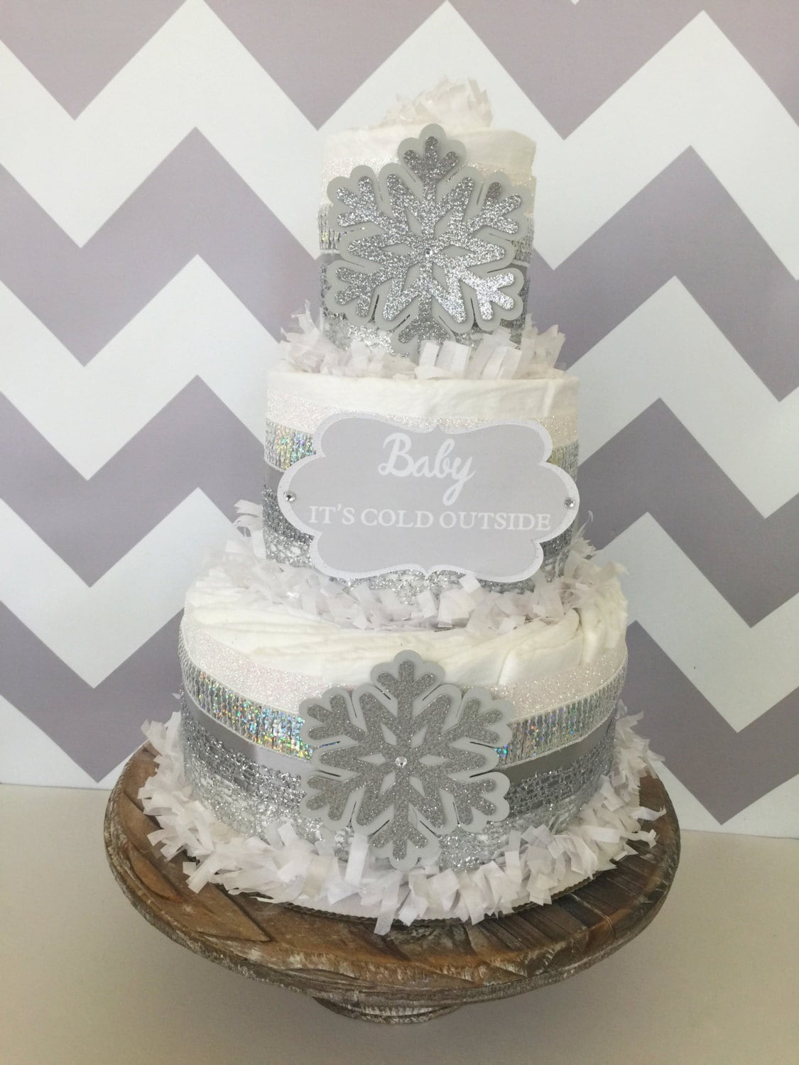 Baby Its Cold Outside Diaper Cake In Silver And White Baby Its