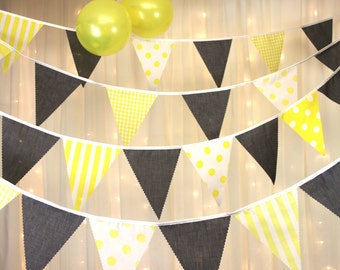 Yellow and grey bunting with spots stripes gingham perfect finishing touch for baby showers weddings, parties, BBQs, photo shoots, festivals