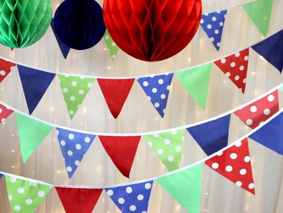 R Bodas Manchas /& Stripes 10 M-Baby Shower Banderines De Tela-Rosa y Amarillo