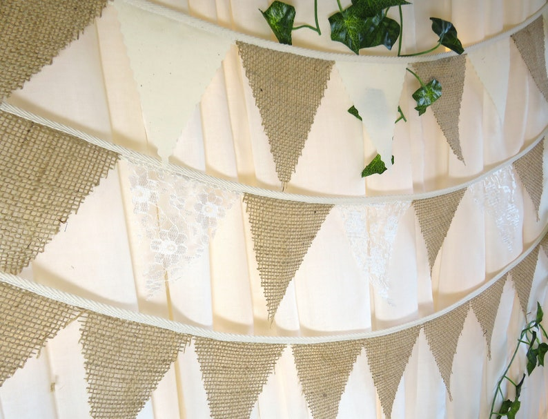 Fabric Bunting Gingham /& Lace PYO Colours and Length From 1m wedding party