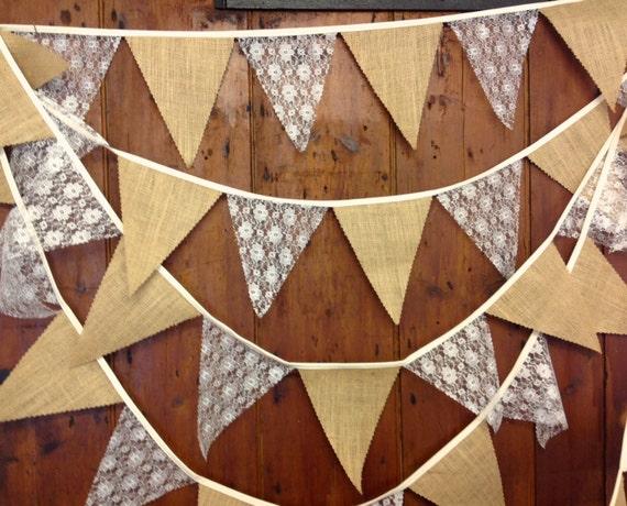 Personalised Wedding Bunting//Hessian//Handmade 50p Per Flag