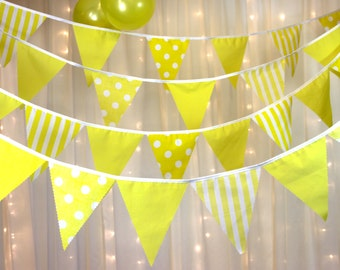 Bright yellow bunting  ideal for easter egg hunts, summer or spring weddings, baby shower  decoration in gingham, spots and stripes