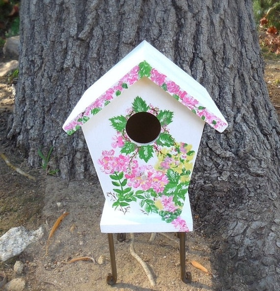 PARADISE - Hand Designed  Floral Birdhouse, Painted Wood Birdhouse, Garden Birdhouse, Painted Flower Birdhouse, Spring Summer Birdhouse