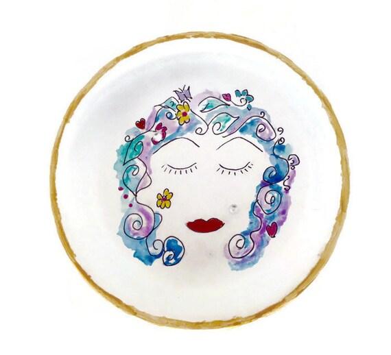 IMAGINE - Hand Designed Jewelry Dish, Painted Jewelry Dish, Hand Painted Trinket Dish, Painted Girl Storage Dish, Girl Ring Dish
