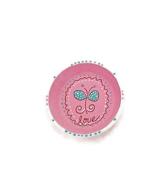 PINK BUTTERFLY - Hand Designed Jewelry Dish