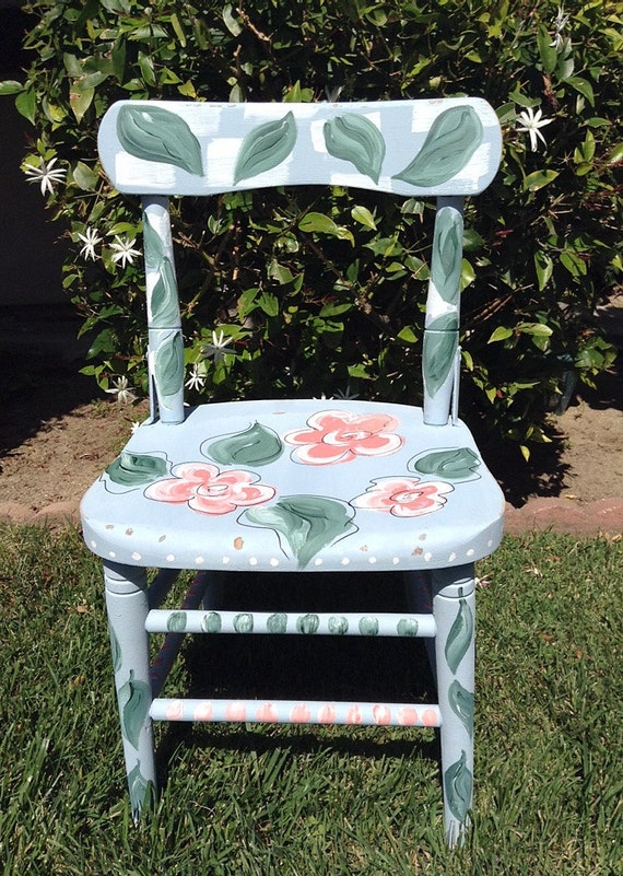 FLOWER LOVE - Hand Designed Childs Chair, Painted Garden Chair, Flower Garden Chair, Home Decor Flower Chair, Decorative Chair