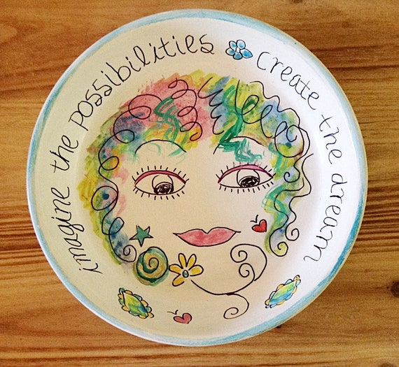 Hand Designed Whimsy Jewelry Storage Dish, Hand Painted Girl Jewelry Dish, Painted Girl Catchall Dish, Inspirational Dish - DREAM MAKER