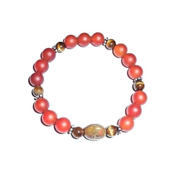 CARNELIAN SKY - Carnelian Beaded Bracelet, Gemstone Beaded Bracelet, Beaded Bracelet, Stretch BeadeBracelet, Stretch Bracelet