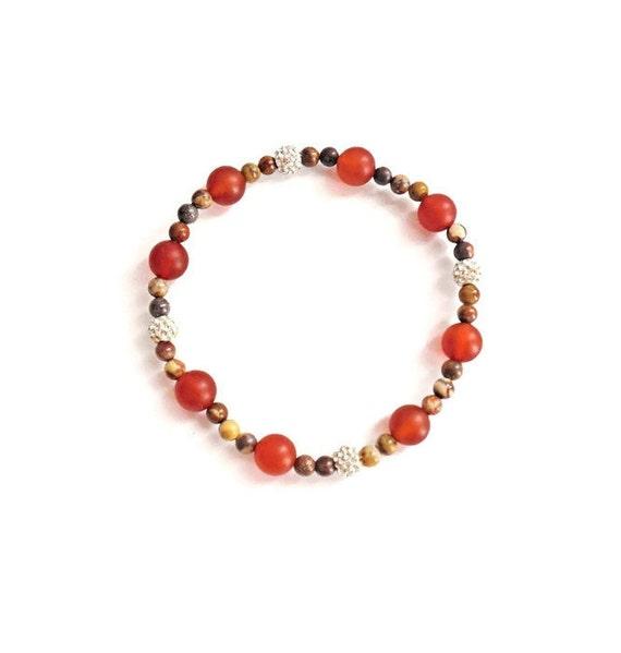 CARNELIAN DELIGHT - Carnelian Beaded Bracelet, Crystal Pave Bracelet,  Birds Eye Rhyolite Beaded Bracelet, Carnelian Stretch Bracelet