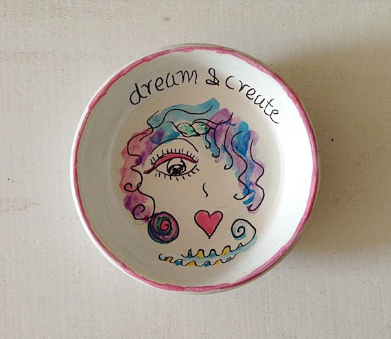 Hand Designed Jewelry Dish, Hand Painted Jewelry Storage Dish, Whimsy Girl Storage Dish, Painted Girl Earring Dish - PINK LUXURY