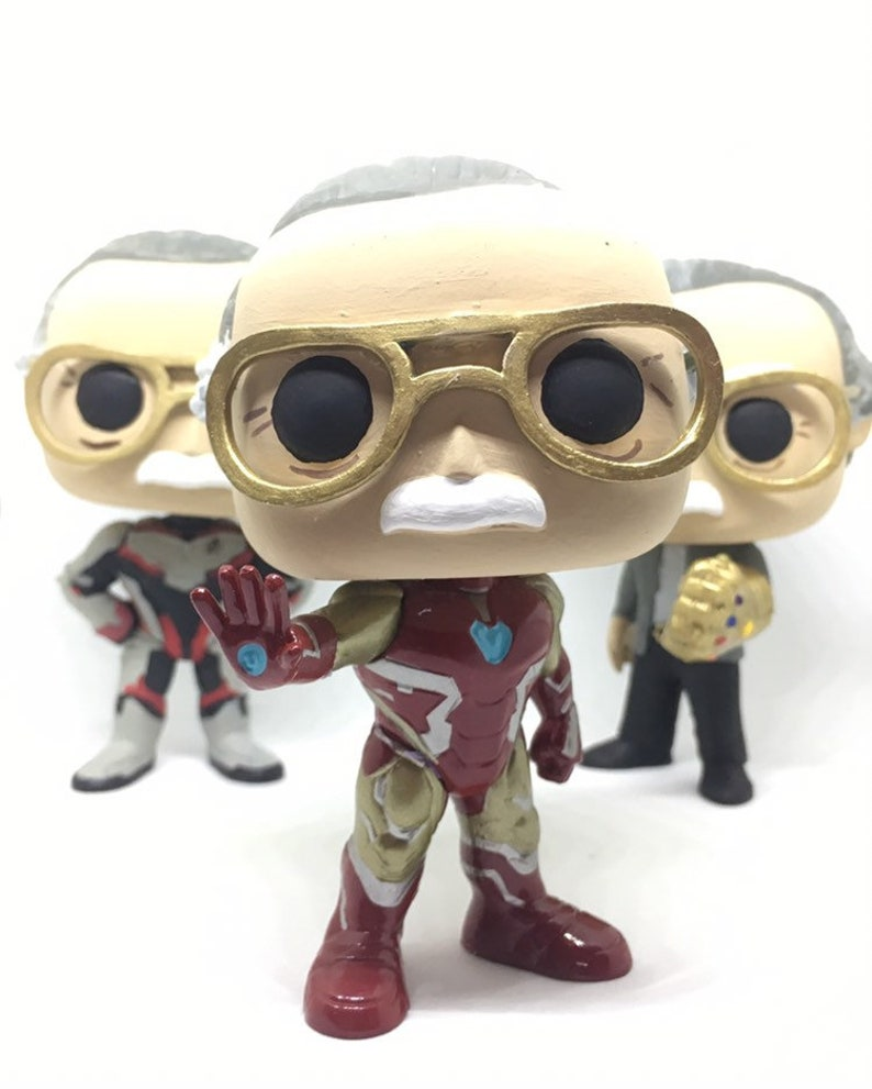 Stan Lee Custom Funko Pop Iron Man/ Infinty Gauntlet / Quantum Realm Suit