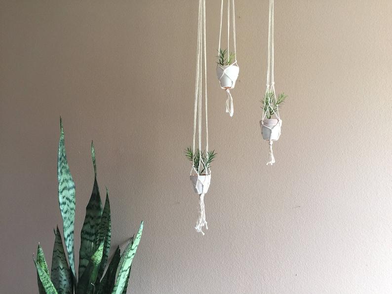 Set Of 3 Hanging Macrame Plant Holders Hanger Ceiling Corner Etsy