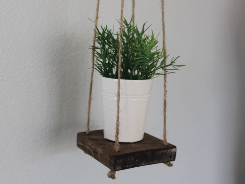 Hanging Plant Stand Floating Wood Boho Plant Holder Modern Etsy