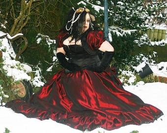 Full frilled taffeta skirt, goth, gothic, steampunk, cosplay, renn, Victorian