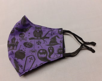 SPOOKY purple print face covering, goth, gothic,  alternative, witch, strega, halloween, bats, coffins, webs, skulls, facemask, mask, covid