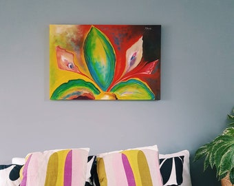 MYSTIC LILY, abstract flower painting, acrylic on canvas, ready to hang 3 X 2 feet