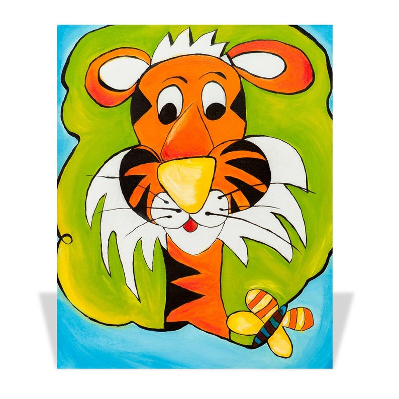 Tiger and the Butterfly Oil on Canvas Lux Kids Collection image 0