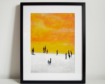 Sunday Afternoon, acrylic painting on a paper framed in the Ikea Ribba frame