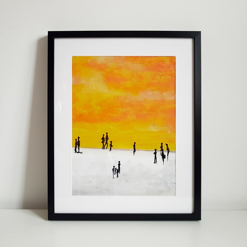Sunday Afternoon acrylic painting on a paper framed in the image 0