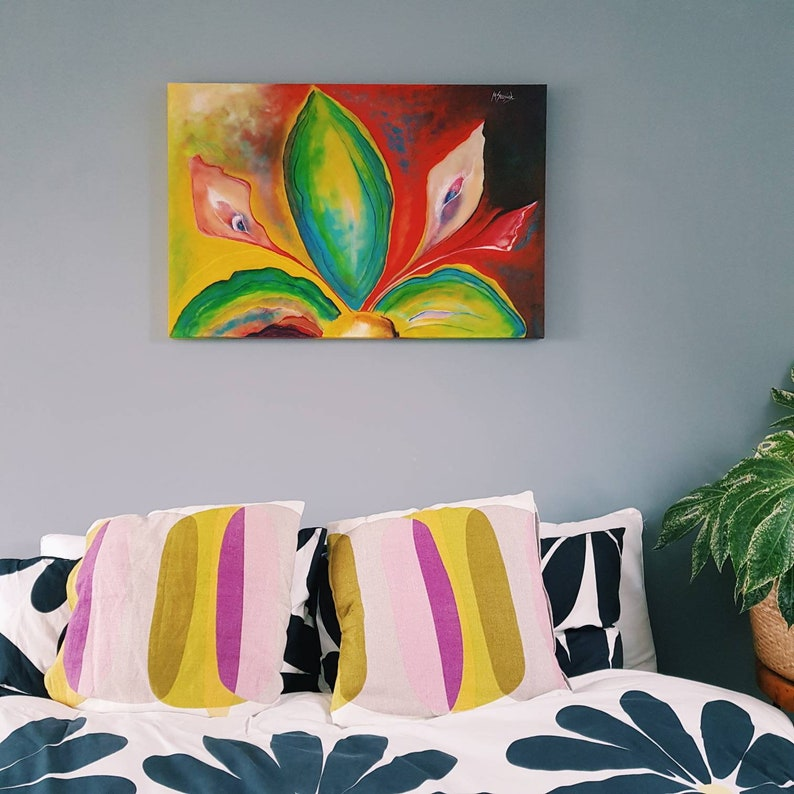 MYSTIC LILY abstract flower painting acrylic on canvas image 0