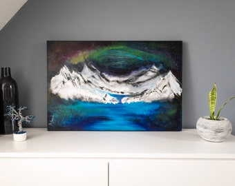 UP THE NORTH, abstract view painting acrylic and plaster on canvas, ready to hang 3 X 2 feet