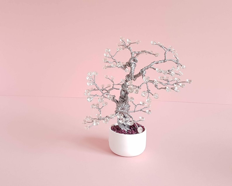 ETSU Wired Bonsai Tree with Clear Gemstones image 0
