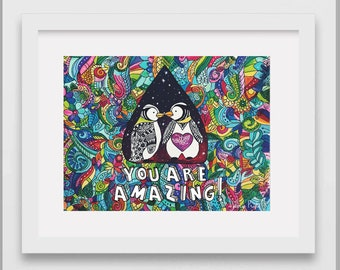 You Are Amazing Zentangle Zentangles Print Folk Art Motivational Quote Inspirational Penguin Nature Birds